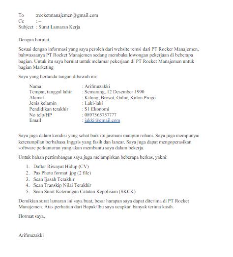 contoh surat lamaran kerja via email contoh surat