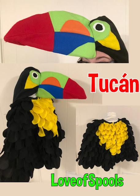 disfraz  de tucán hechos con un poncho