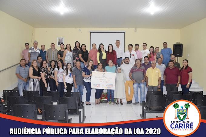 Prefeitura Municipal de Cariré promoveu audiência pública para elaboração do Projeto da Lei Orçamentária Anual (LOA) 2020