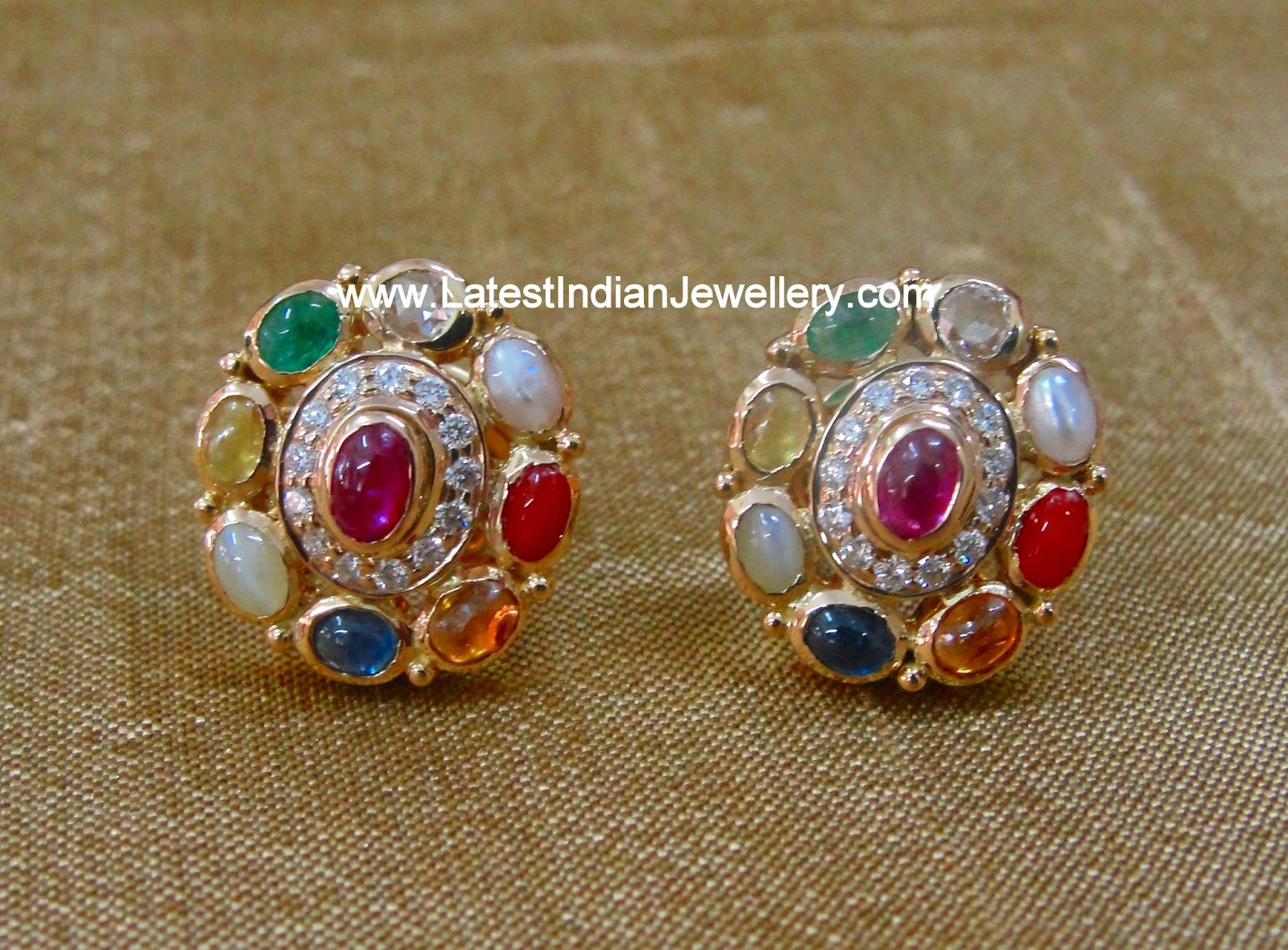 Navaratna Diamond Ear Studs