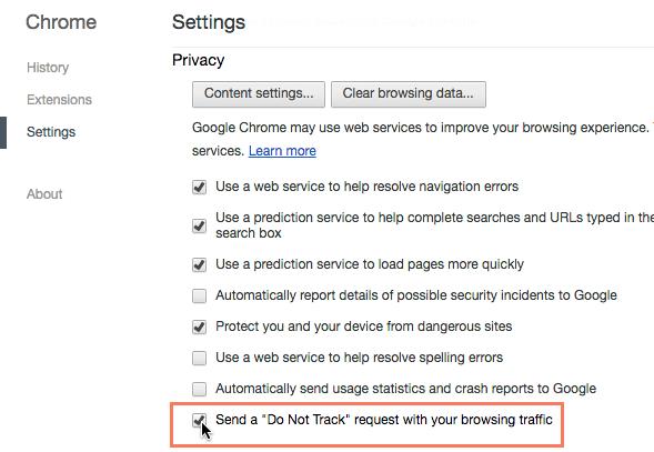 """تشغيل ميزة """"عدم التعقب"""" في Google Chrome"""