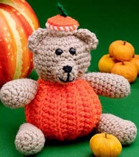 patron gratis oso calabaza amigurumi |  free pattern amigurumi bear