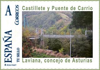 Tu sello personalizado del puente y el castillete de Carrio, Laviana, Grucomi 2009