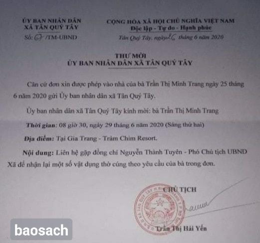 Chủ Tịch UBND Bình Hưng - Bình Chánh mời dân lên nhận lại bàn thờ