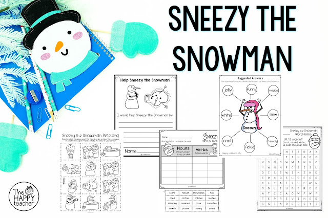 Fun set of NO PREP activities to use with the story Sneezy the Snowman by Maureen Wright