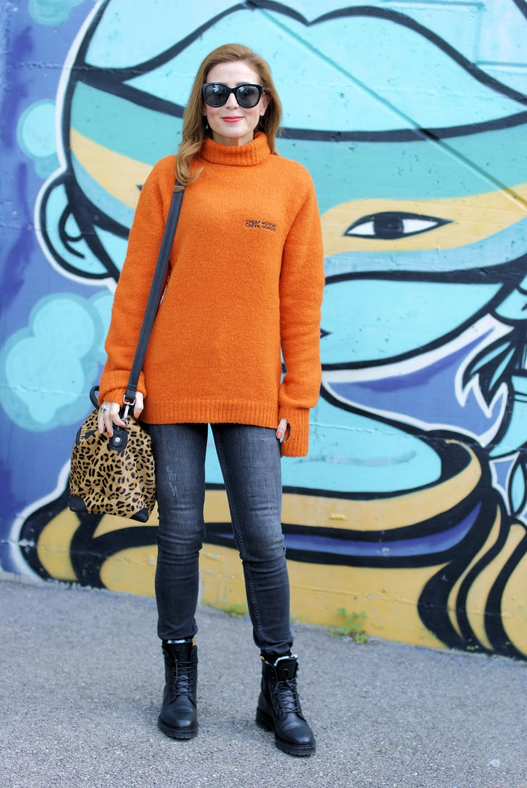 Cheap Monday orange sweater on Fashion and Cookies fashion blog, fashion blogger style