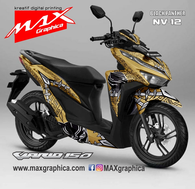 Vario Black panther Gold-Black pasang stiker decal motor sidoarjo surabaya