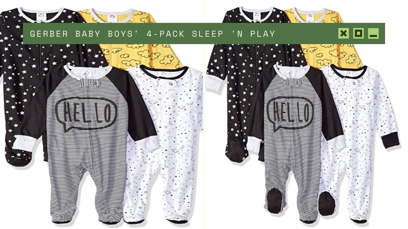 Shopping for newborn baby boy GERBER 4-Pack Sleep
