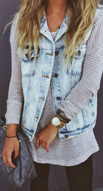 what to wear with a denim vest : bag + stripped top + jeans