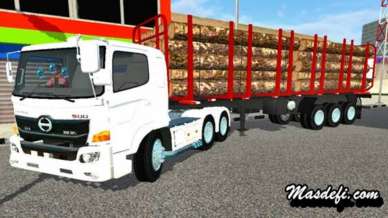 mod truck hino 500 trailer muat kayu