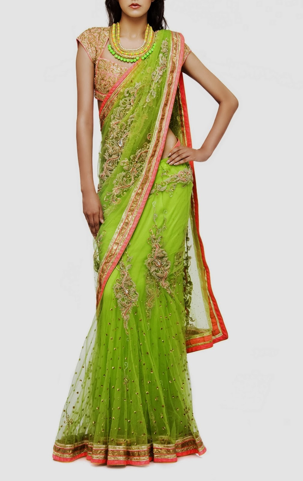 parrot green saree