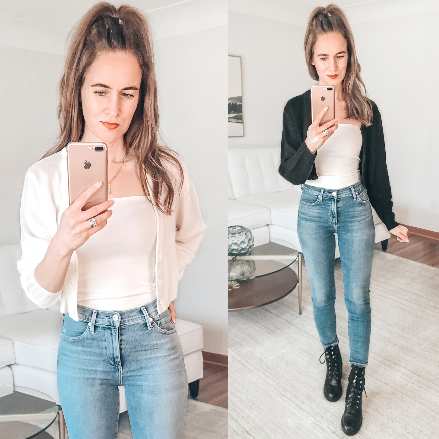 style blogger spring trends 2021, crop cardigan, combat boots