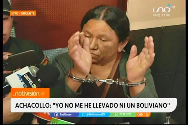 Nemesia Achacollo insiste en su inocencia, dice no haberse llevado ni un boliviano del Fondo Indígena