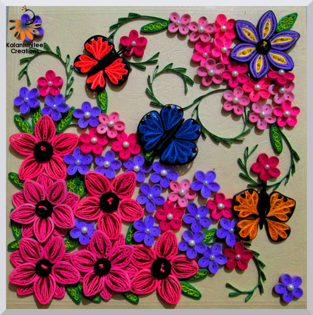 Quilled flowers and butterfly kalanirmitee creations kalanirmitee paper quilling quilled flowers 3d quilling quilling ideas quilling projects mightylinksfo