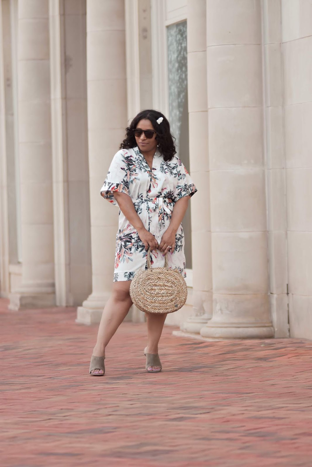Lookbookstore, kimono, floral kimono, summer outfit ideas, wicker bags, amiclubwear shoes