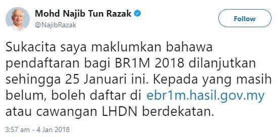 tweet pm permohonan brim 2018 dilanjutkan