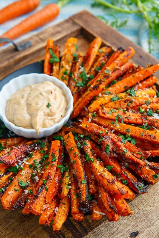 Parmesan Roasted Carrot Fries #carrot #parmesan #vegetarian #breakfast #easy