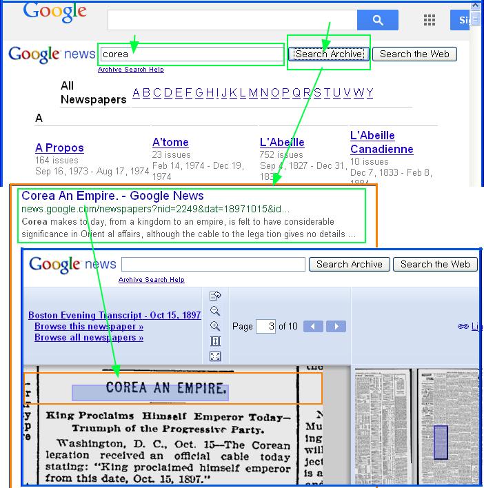 구글검색- 스캔된 (오래된) 옛 뉴스 (신문, 잡지) 찾아 읽는 방법