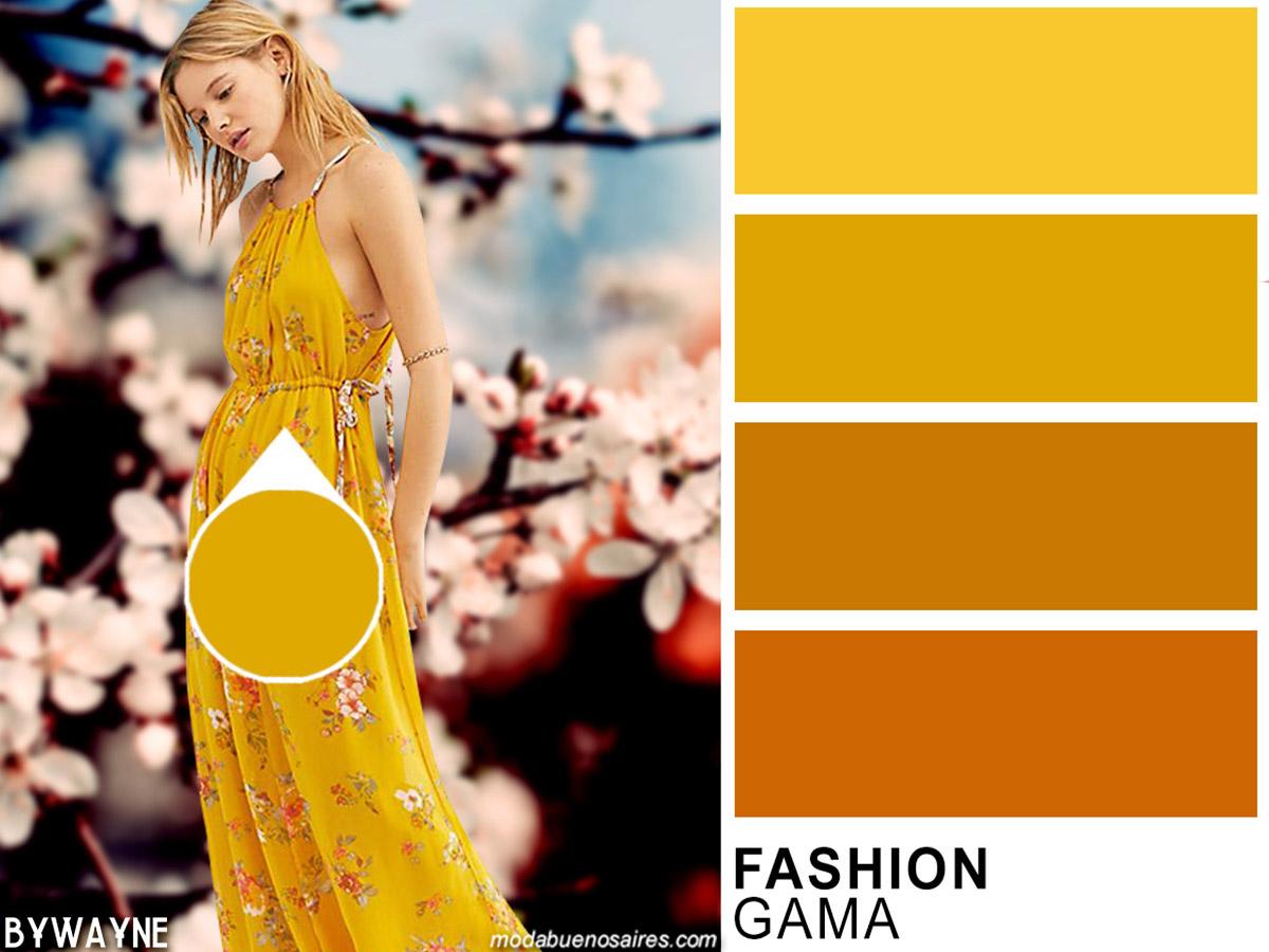 Colores de moda primavera verano 2020. Fashion Gama: amarillos.
