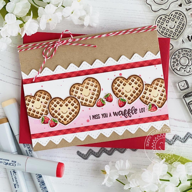 Sunny Studio Stamps: Breakfast Puns Ric Rac Border Dies Punny I Love You Card by Leanne West