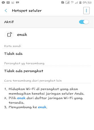 Tethering Android Sukses