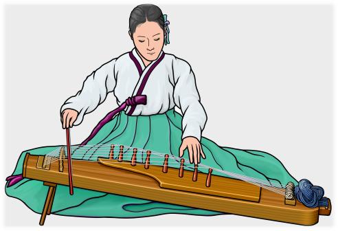 韓国の牙箏(アジェン)