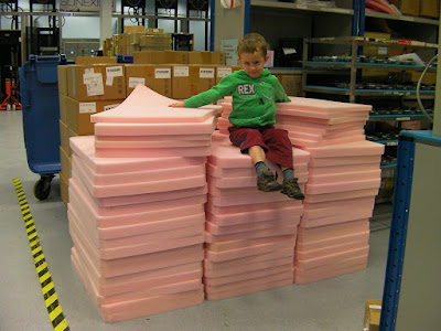 giant packaging foam throne in factory environment