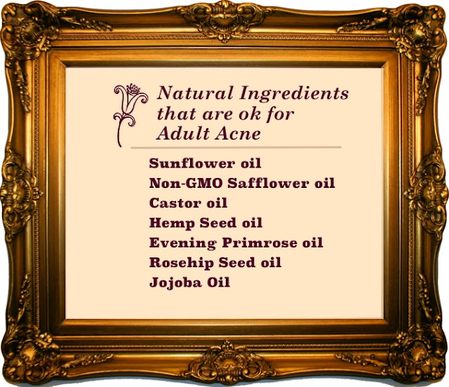 There are several oils that are ok for acne skin; sunflower, safflower, castor, hemp, evening primrose, rosehip seed and jojoba are great examples.