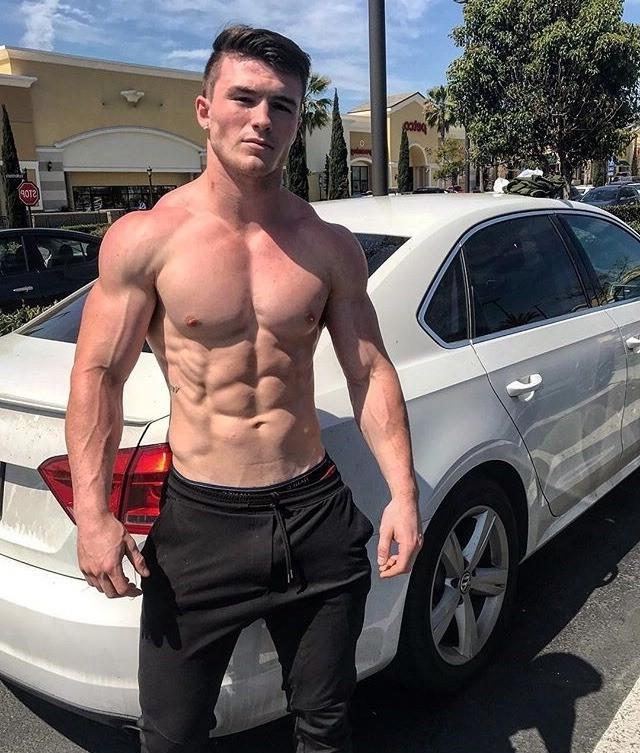 sexy-shirtless-masculine-fit-body-muscle-dude-car-sixpack-abs-huge-biceps-veiny-arms