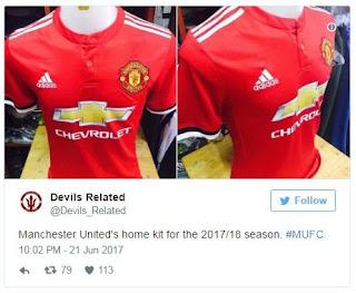 Jersey Kandang Manchester United Terbaru Musim 2017-2018