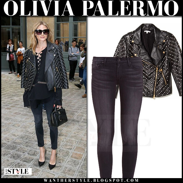 Olivia Palermo in black leather embellished rebecca minkoff jacket, grey skinny jeans and black pumps paris couture week front row