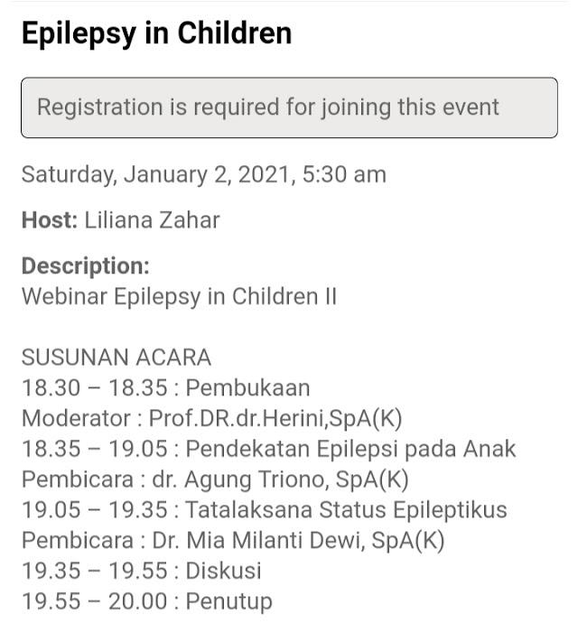 """Virtual Seminar """"Epilepsy in Children"""" 2 dari total 3 serial untuk Dokter Umum"""