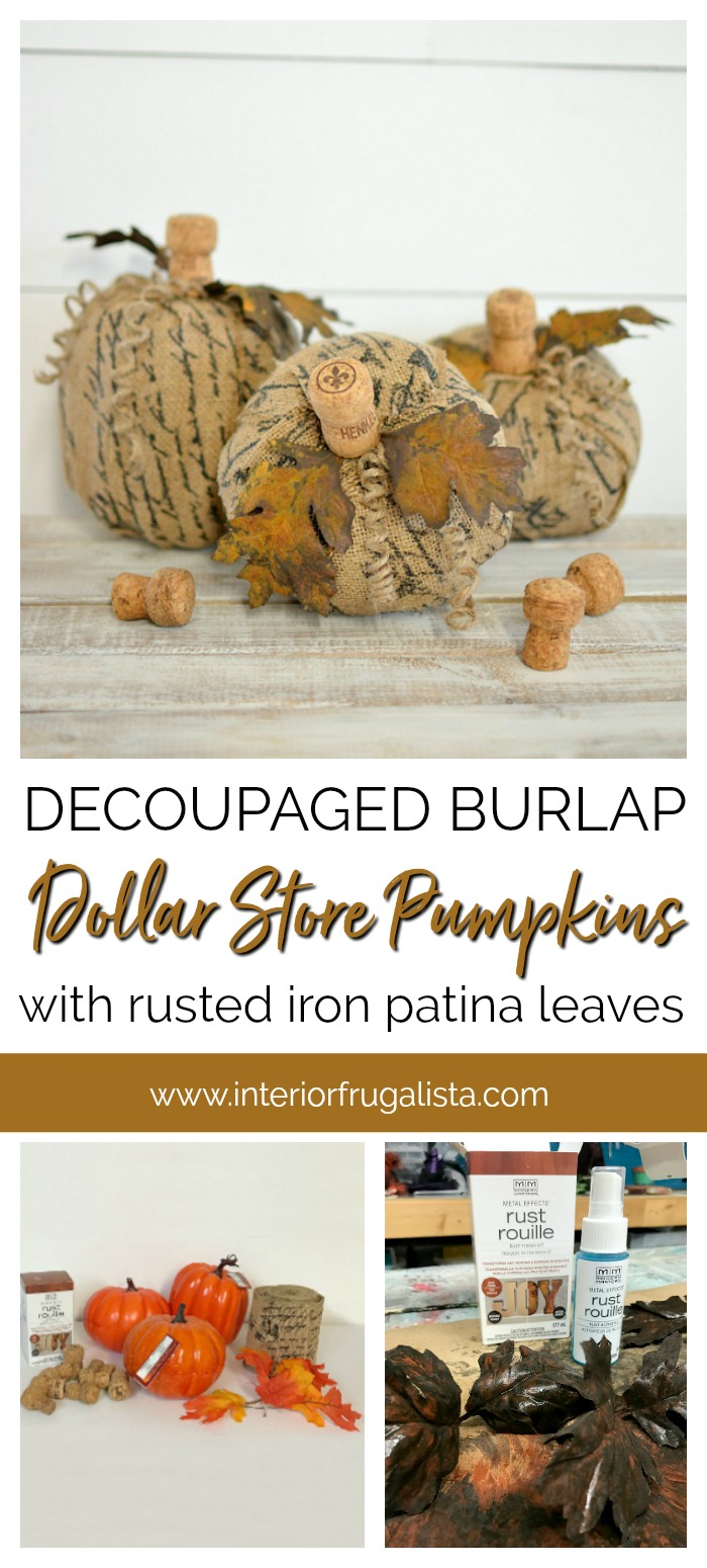 Decoupaged Burlap Dollar Store Pumpkins