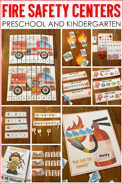 Fire Safety Literacy and Math Centers for Preschool and Kindergarten