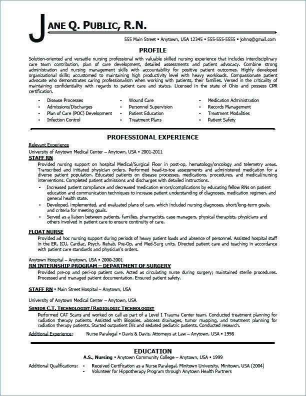 Sample Icu Nurse Resume Nursing Resumes Skill Medical