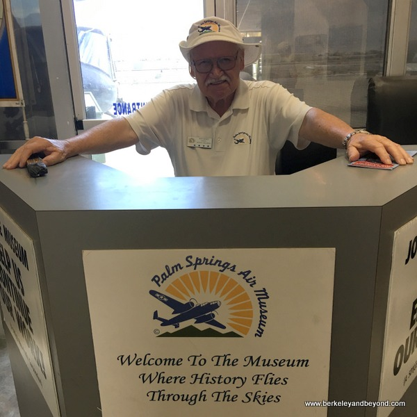 greeter Don Short at Palm Springs Air Museum in Palm Springs, Calfornia