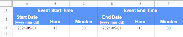 Start and End date values in a Google Sheet
