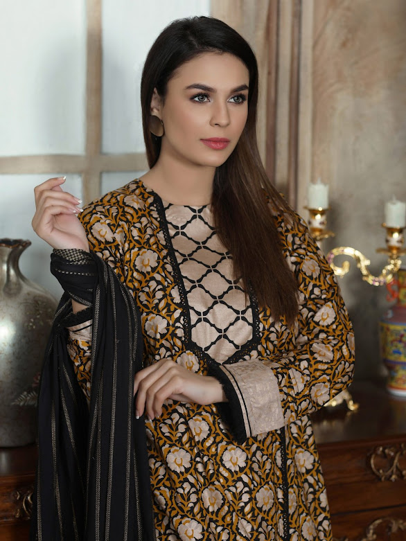 Limelight unstitched lawn shirt Gold pasting printed