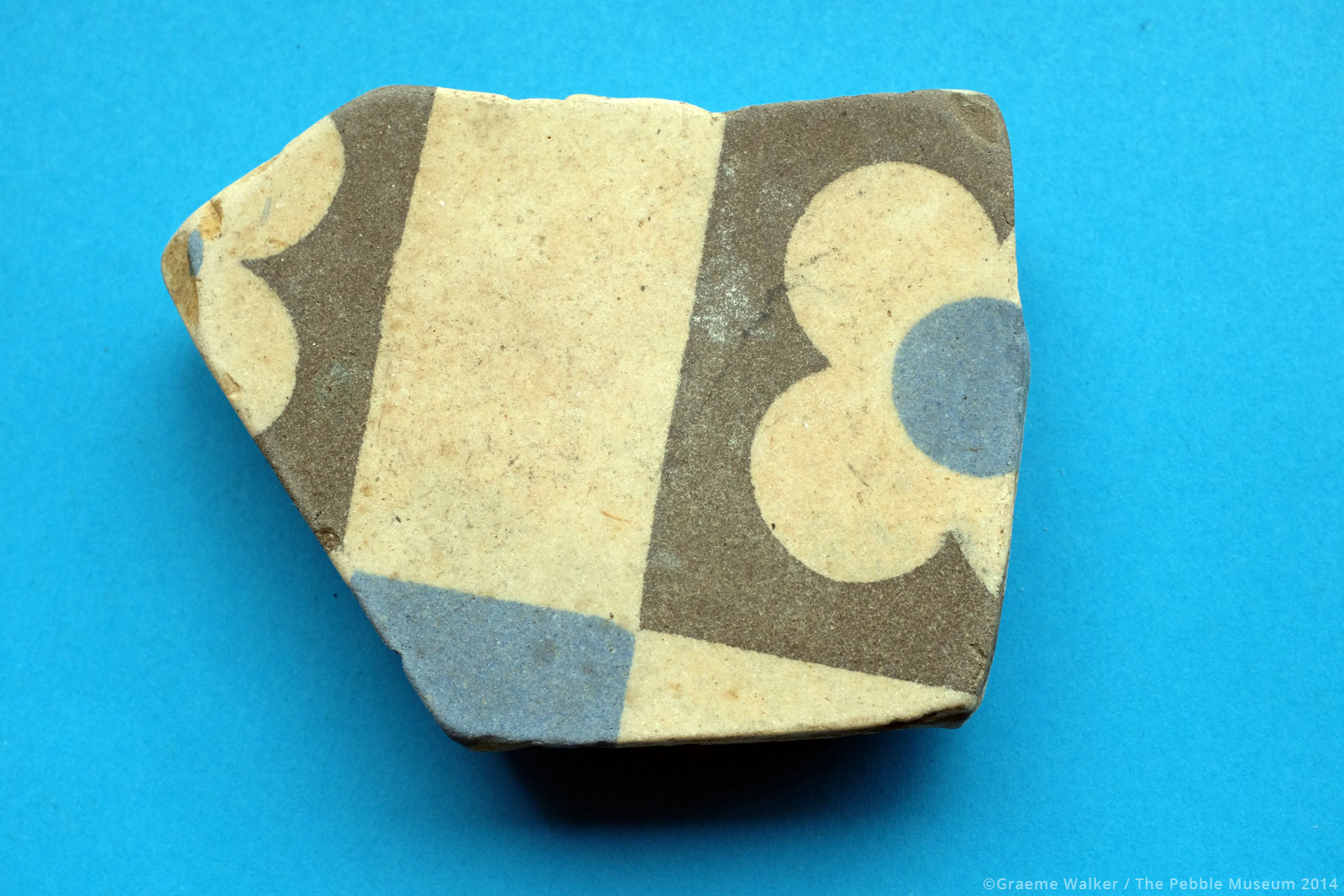 Cream Ceramic with Grey and Blue Motif © Graeme Walker / The Pebble Museum 2019