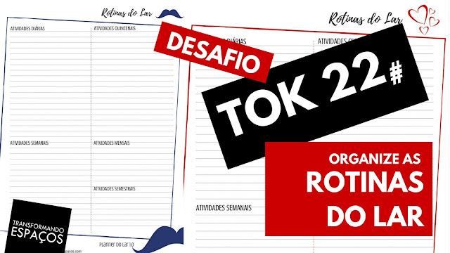 Organize as rotinas do lar - TOk 22 | Desafio 52 toks de organização e decor