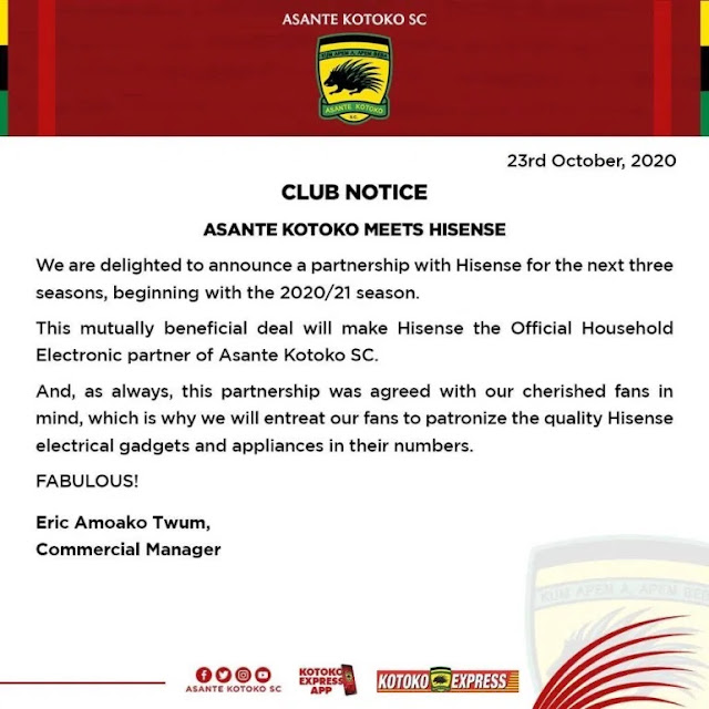 Good News! Asante Kotoko Signs A Three-Year Sponsorship Deal With Hisense Ghana