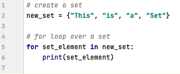 For loop in Python over a Set