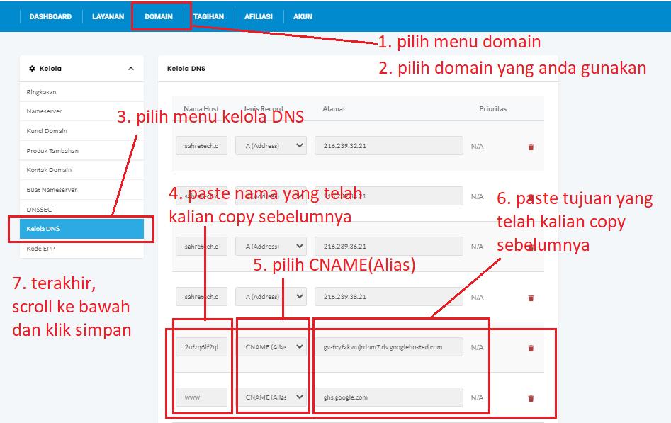 setting DNS di penyedia layanan domain