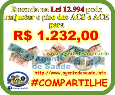 EMENDA%2BREAJUSTA%2BPISO%2BNACIONAL%2BDOS%2BACS%2BE%2BACE Emenda na Lei 12.994 pode reajustar o piso dos ACS e ACE para R$ 1.232,00