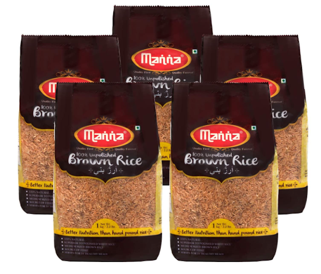 Manna Brown Rice, 5kg (1kg x 5 Packs) - Premium Quality, Long Grain, Unpolished. 100% Natural. Naturally Low GI, High in Fibre. Helps Control Diabetes