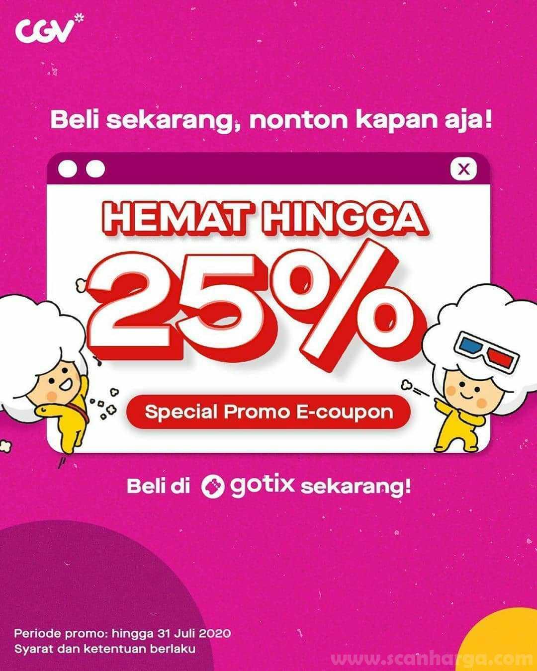 Promo CGV Cinemas Nonton Hemat Hingga 25% Pake E-Coupon dari GoTix!