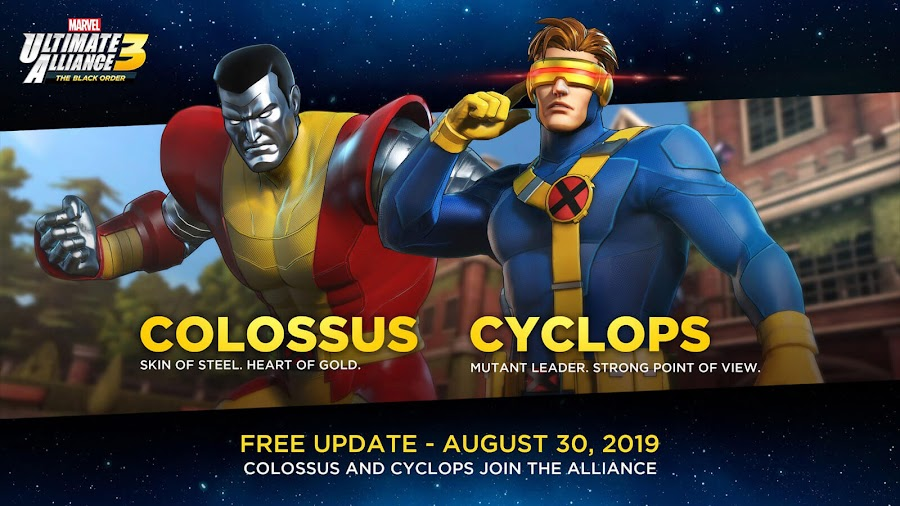 marvel ultimate alliance 3 cyclops colossus free dlc x-men team ninja nintendo switch