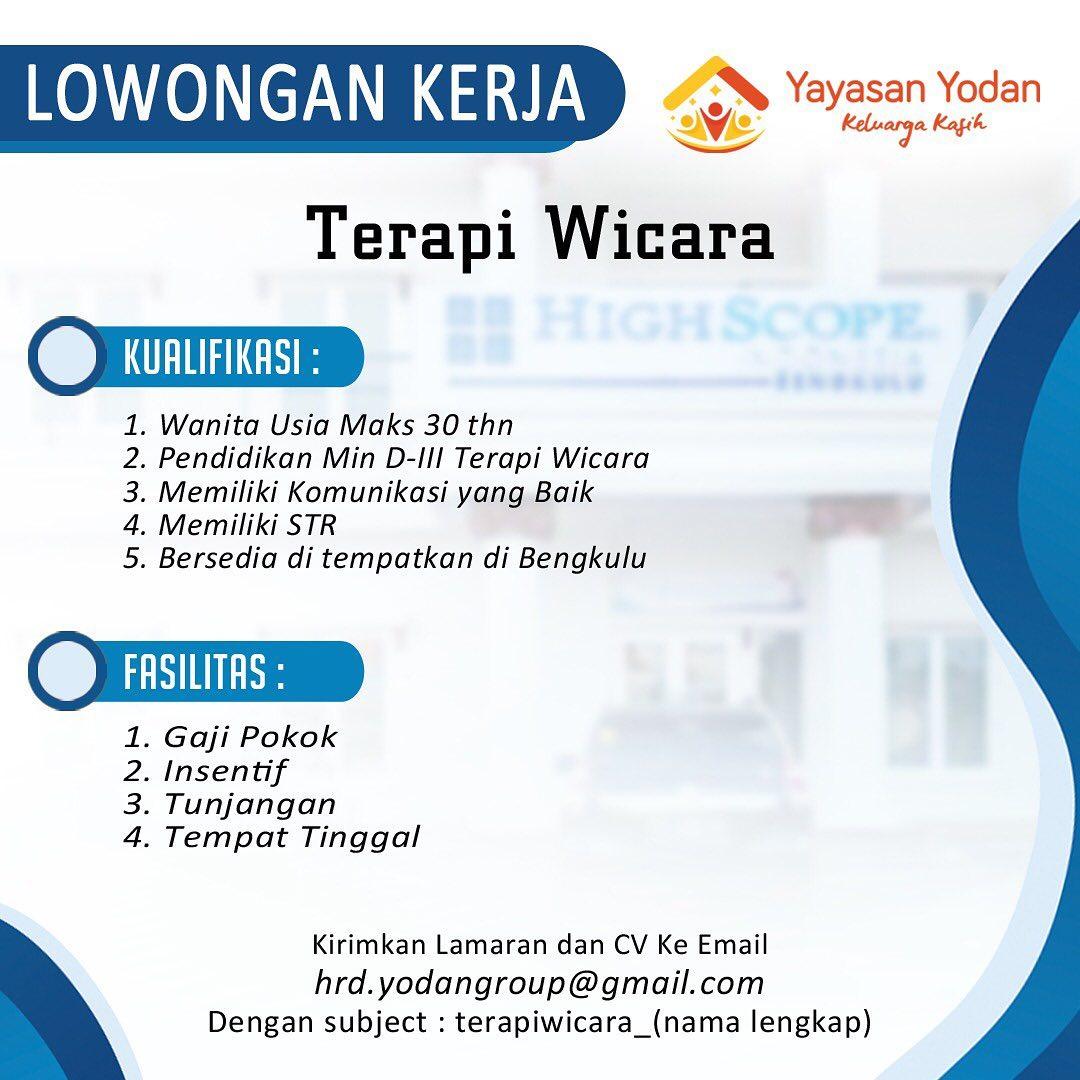 Lowongan Kerja Terapi Wicara Yayasan Yodan Karir Bandar Lampung