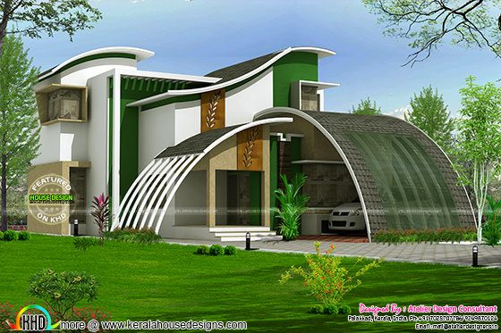 Flowing style curvy home plan