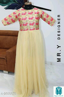 Trendy Attractive Net Embroidered Women Gowns